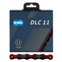 """Kedja 11-V KMC DLC 11, svart/röd, 11/128"""" X 118L"""